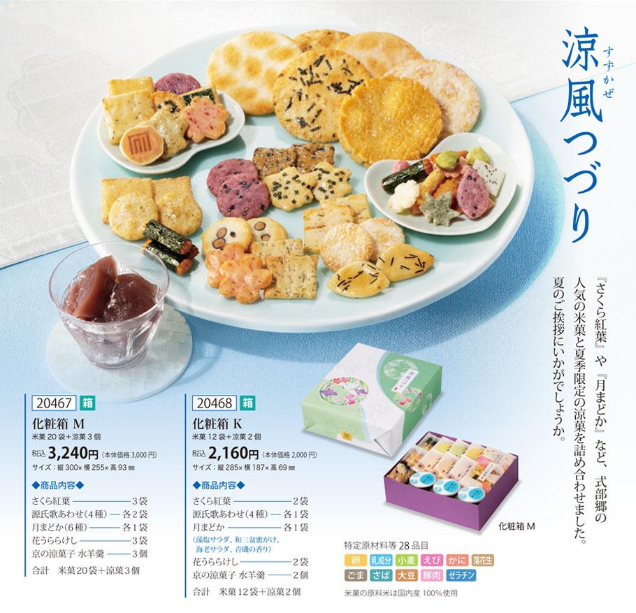 【夏季限定】涼風つづり 化粧箱K (あられ12袋&水羊羹2個)